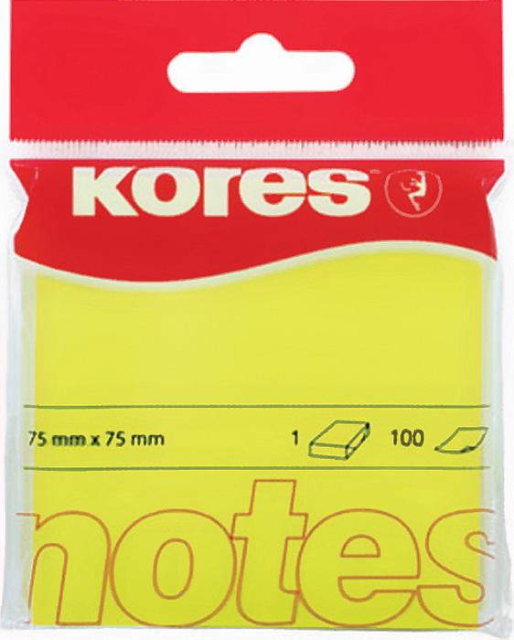 Samolepicí bloček Kores neon - žlutá