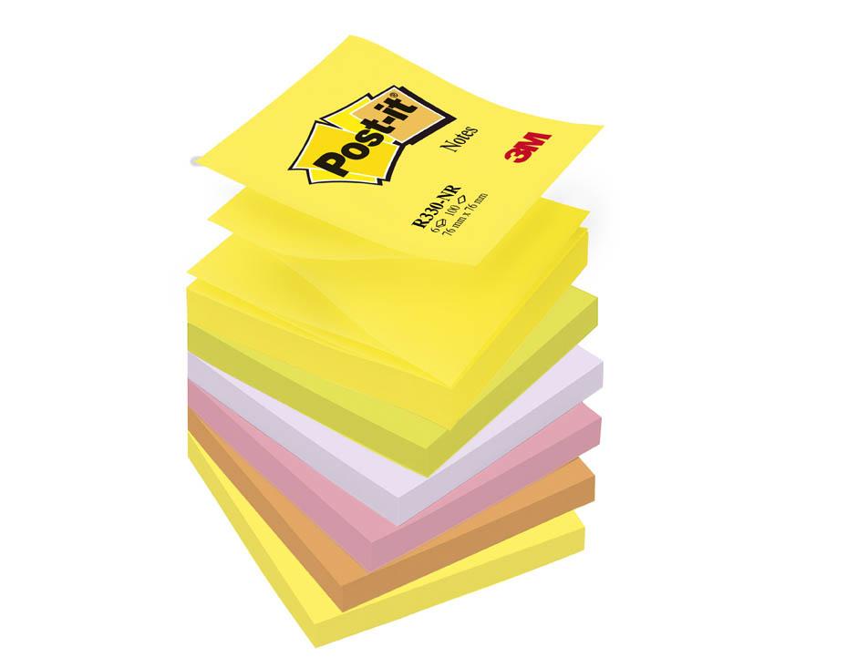 Samolepicí bločky Post-it - Z bločky - mix neonových barev / 6 x 100 lístků