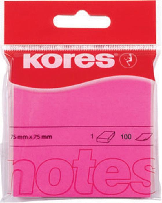 Samolepicí bloček Kores neon - růžová