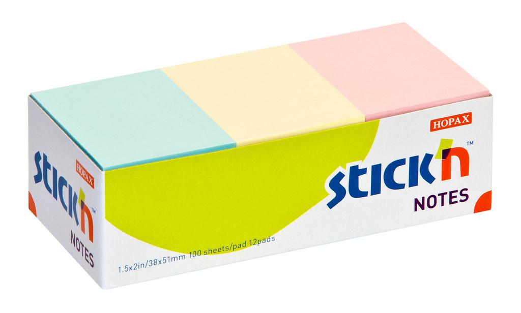 Samolepicí bločky Stick´n by Hopax barevné - 38 x 51 mm / 12 x 100 lístků / pastelové barvy