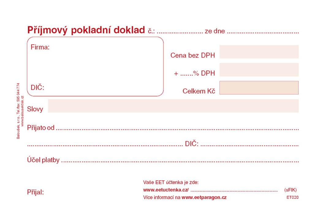 Baloušek příjmový pokladní doklad - A6 / nečíslovaný / 50 listů / ET020