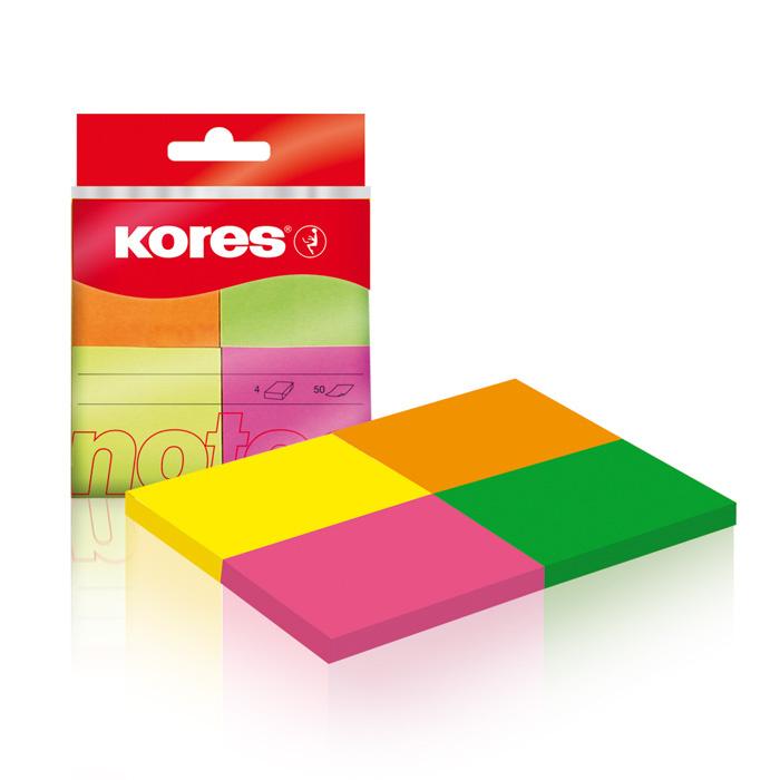Samolepicí bločky Kores Multicolor - 40 mm x 50 mm / 4 ks