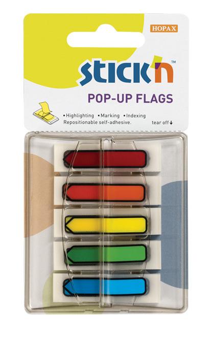 Samolepicí záložky Stick´n by Hopax Z - 12 x 45 mm / 5 x 30 lístků / neonové šipky