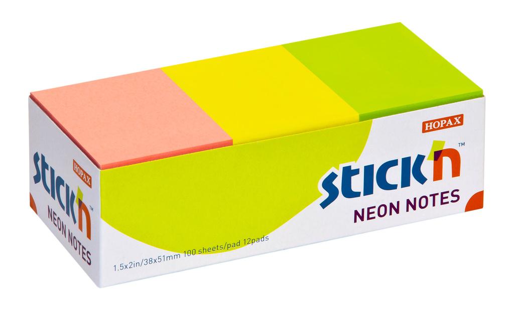 Samolepicí bločky Stick´n by Hopax barevné - 38 x 51 mm / 12 x 100 lístků / neonové barvy