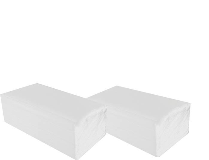 Ručníky papírové skládané  -  ručníky bílé / jednovrstvé / 200 ks