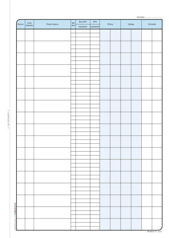 Optys 1014 pokladní kniha s DPH 2 x 25 listů NCR A4