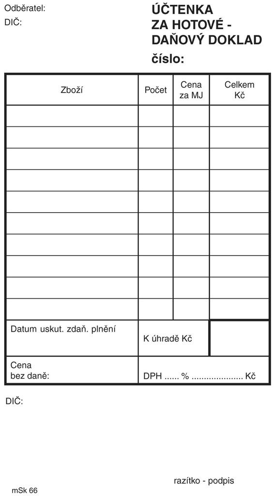 Účtenka za hotové MSK - nečíslovaná 100 listů NCR / 65