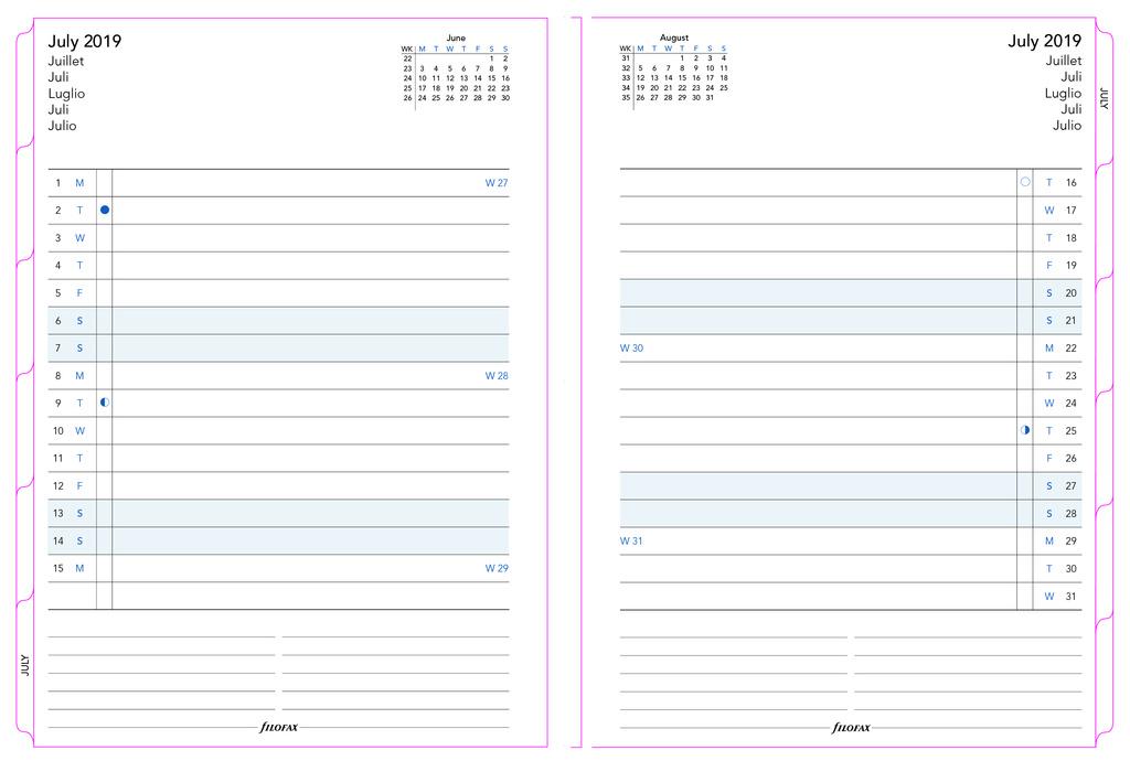 Náhradní listy Filofax Notebook - A5 / kalendář měsíční