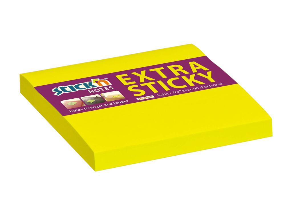 Samolepicí bločky Stick´n by Hopax Extra Sticky - 76 x 76 mm / 90 lístků / neon žlutá