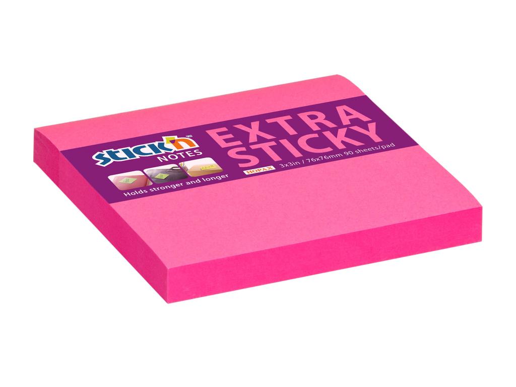 Samolepicí bločky Stick´n by Hopax Extra Sticky - 76 x 76 mm / 90 lístků / neon růžová