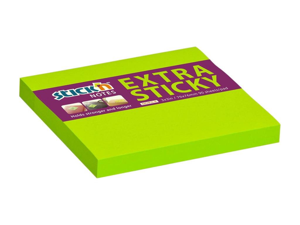 Samolepicí bločky Stick´n by Hopax Extra Sticky - 76 x 76 mm / 90 lístků / neon zelená