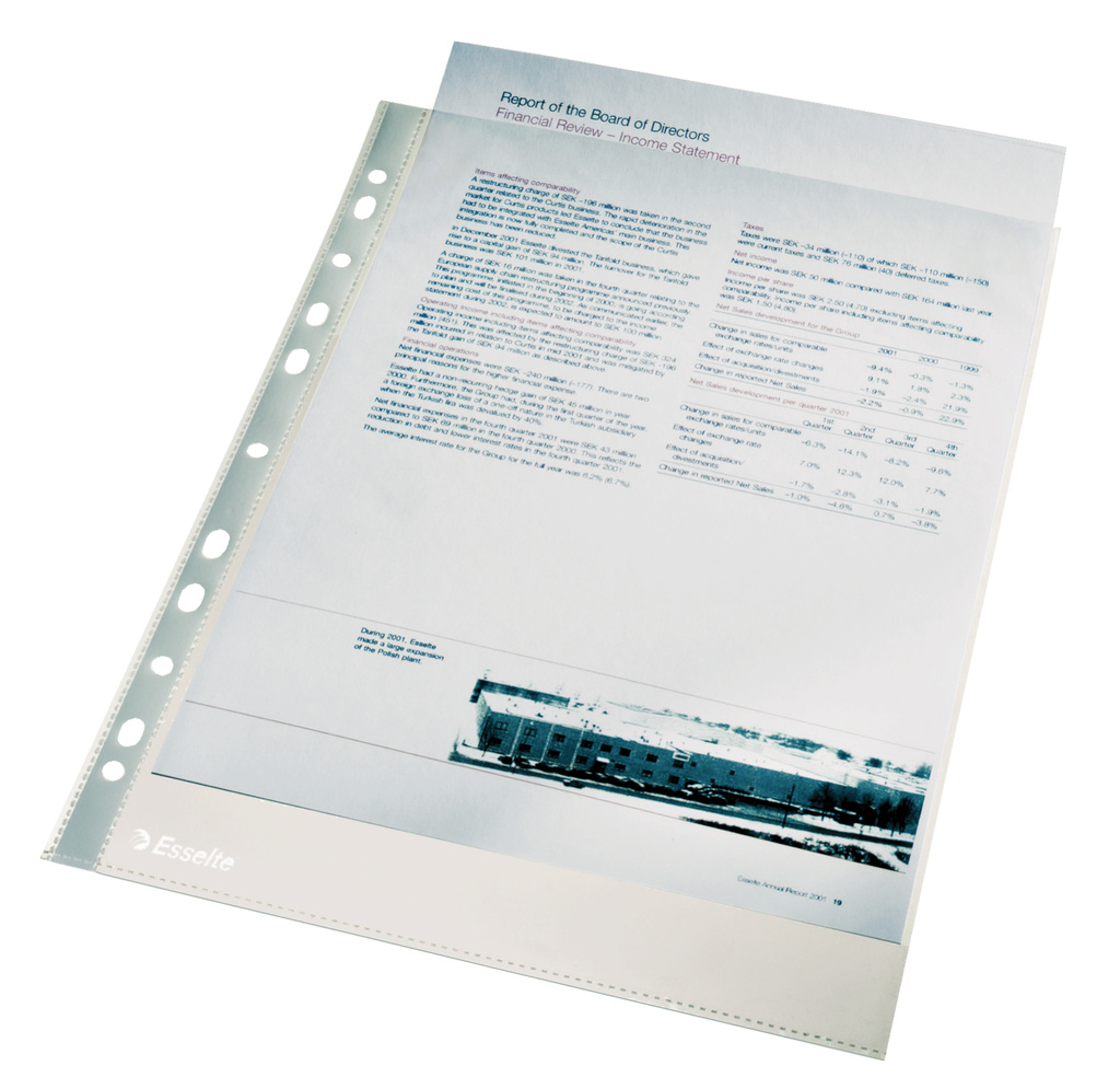 Závěsný obal Esselte Premium - A4 čirý / 105 my / 100 ks