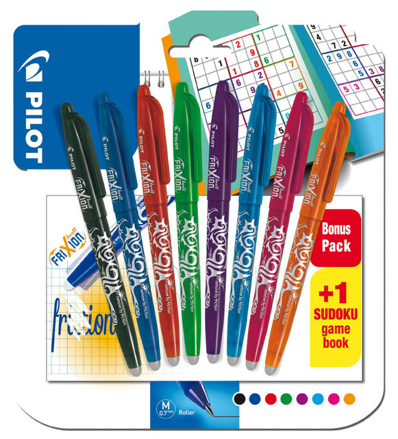Sada roller Pilot Frixion Ball + sudoku - sada 8 barev + sudoku