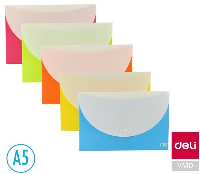 Spisové desky DELI Double s drukem - A5 / barevný mix