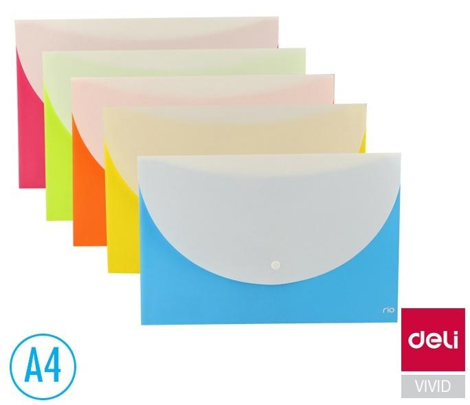 Spisové desky DELI Double s drukem - A4 / barevný mix