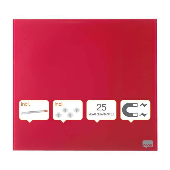 Tabule magnetické skleněné Nobo Diamond - 45 x 45 cm / červená