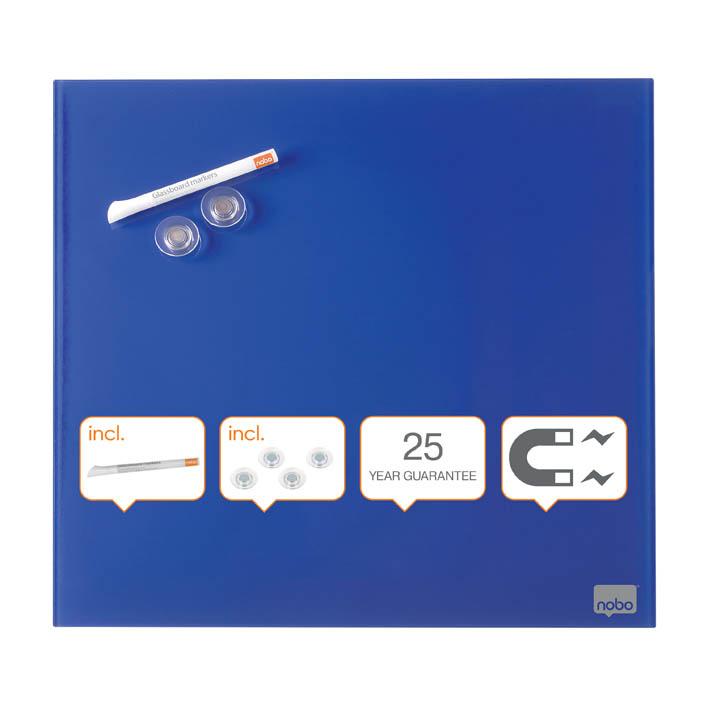 Tabule magnetické skleněné Nobo Diamond - 45 x 45 cm / modrá