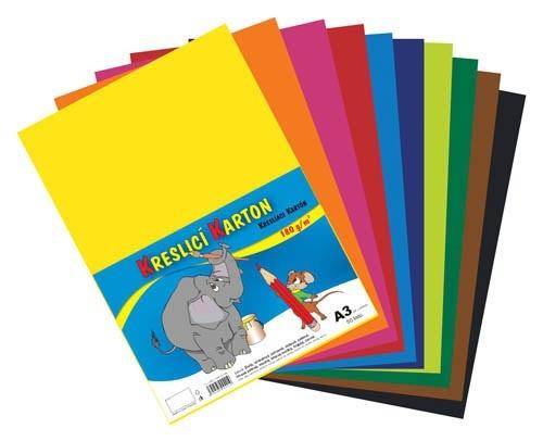 Barevný karton - A3 / 180 g / 60 listů / barevný mix