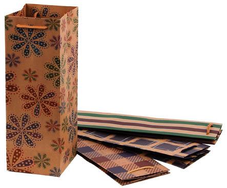Tašky papírové Craft Ornament - na láhev / 115 x 8,5 x 355 mm