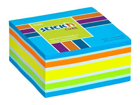 Samolepicí bločky Stick´n by Hopax - 76 x 76 mm / 400 lístků / neon mix modrá