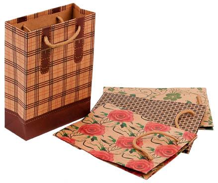 Tašky papírové Craft Ornament - malá / 150 x 60 x 200 mm