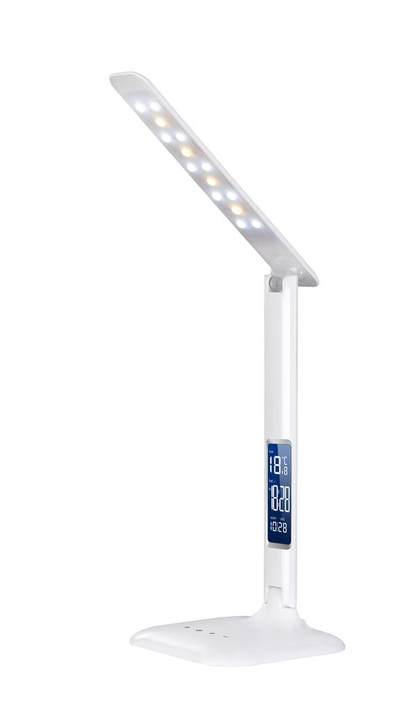 Lampa LED stmívatelná s displejem - lesklá bílá