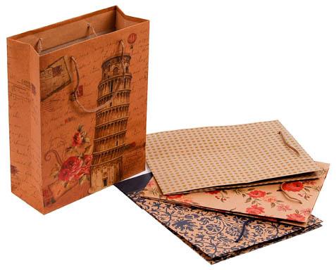 Tašky papírové Craft Ornament - střední / 190 x 80 x 240 mm