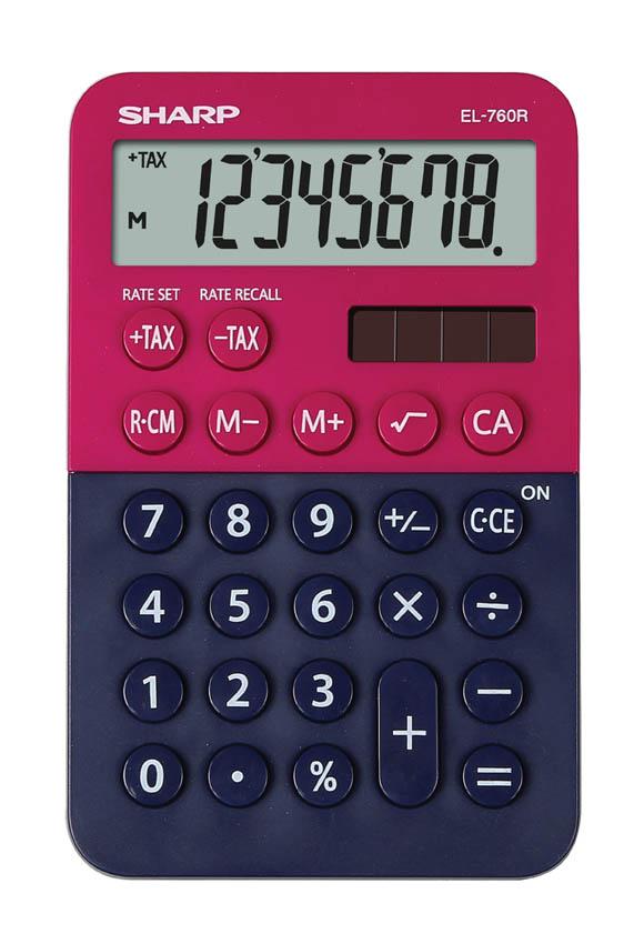 Kalkulačka Sharp EL 760 - displej 8 míst / červeno-modrá