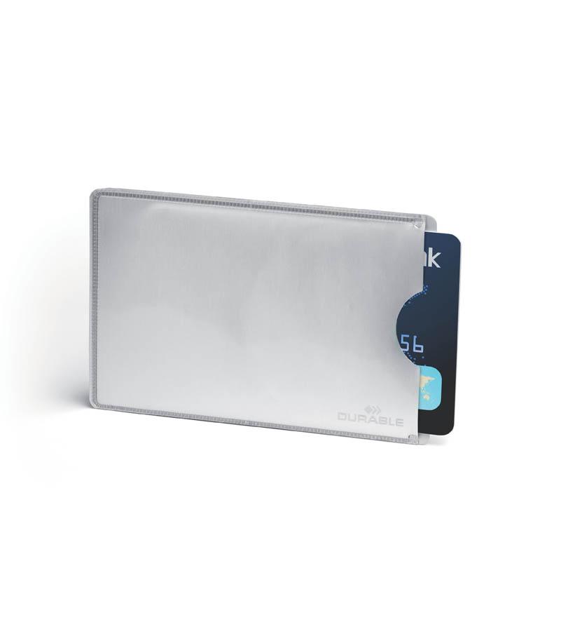 Obal na kreditní kartu Durable RFID Secure - stříbrná / 10 ks