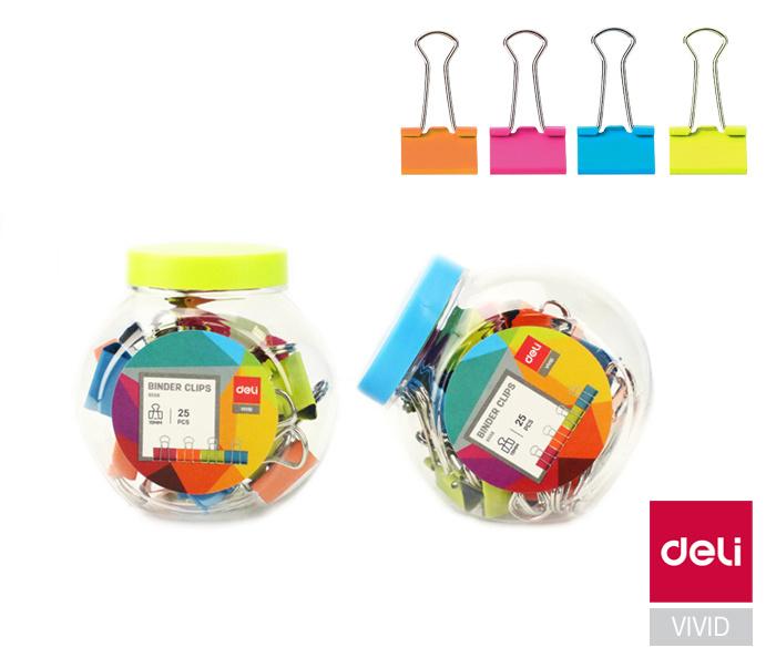 Klipy kovové barevné DELI - 19 mm / 25 ks / barevný mix