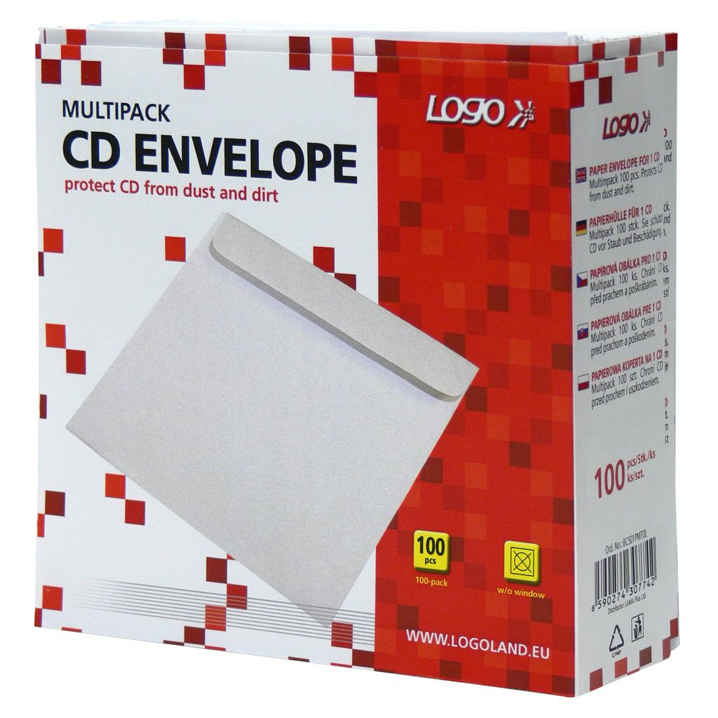 Obálky na CD / DVD - 100 ks / bílá / bez okénka